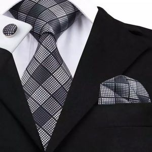 Other - Men's Silk Coordinated Tie Set, Black Gray Squared